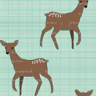 Deer On Linen Mint Brown