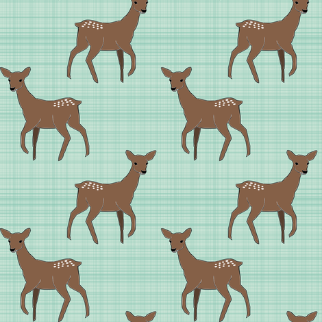 Deer On Linen Mint Brown fabric by mrshervi on Spoonflower - custom fabric