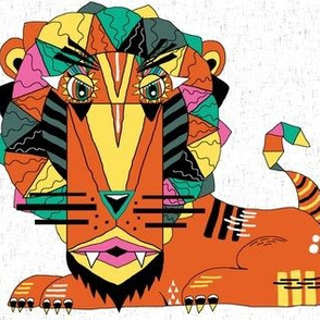 bauhaus style lion, large scale, white orange yellow green pink