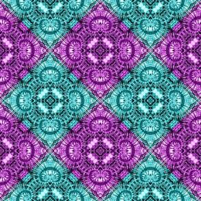 Lavender & Teal Spiral Diamonds