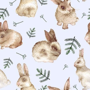 Bunnies and leaves (blue bg)