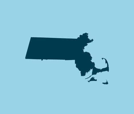 "Massachusetts silhouettes - 21x18"" navy on light blue fabric by weavingmajor on Spoonflower - custom fabric"