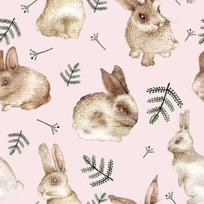Bunnies and Leaves (Pink background)