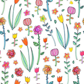 Retro flower doodles
