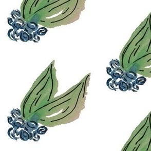 Watercolor Blue Berries