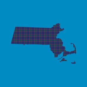 "Massachusetts silhouettes - 21x18"" tartan on bright blue"