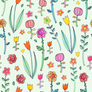 Retro flower doodles - on pale green