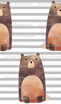 Bear,  Gray Stripe – Woodland Animals Baby Design, Ginger Lous
