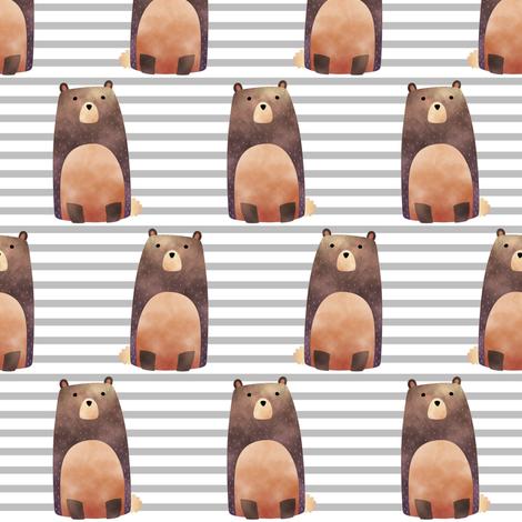 Bear,  Gray Stripe – Woodland Animals Baby Design, Ginger Lous fabric by gingerlous on Spoonflower - custom fabric