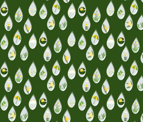 Whispers in the rain green fabric by anino on Spoonflower - custom fabric