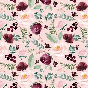 "4"" Wild at Heart Florals Pink Background"