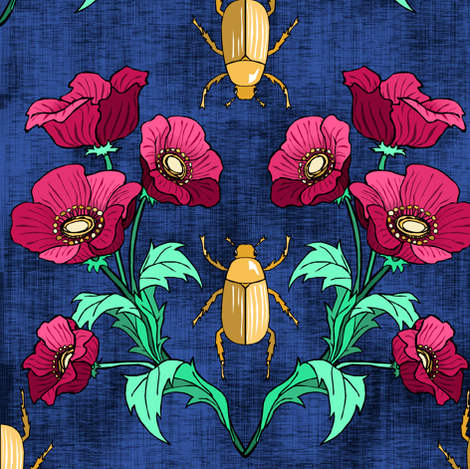 Gold Beetle + Poppy Blue fabric by pond_ripple on Spoonflower - custom fabric