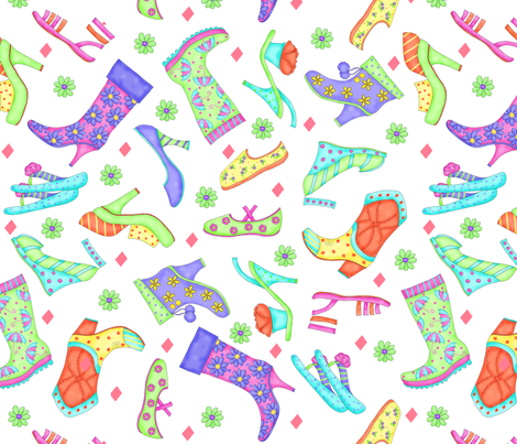 Shoe Multicolors on White Large fabric by phyllisdobbs on Spoonflower - custom fabric