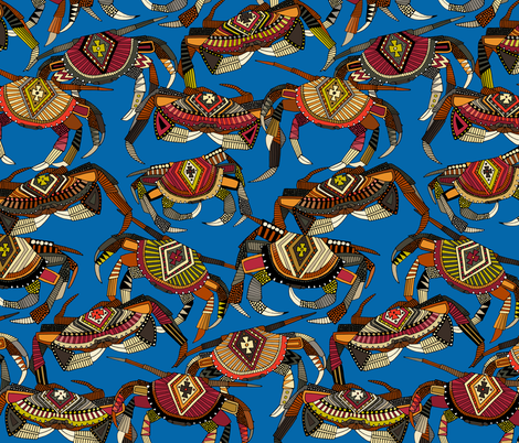 crabs blue fabric by scrummy on Spoonflower - custom fabric