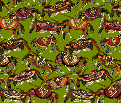 crabs lime fabric by scrummy on Spoonflower - custom fabric