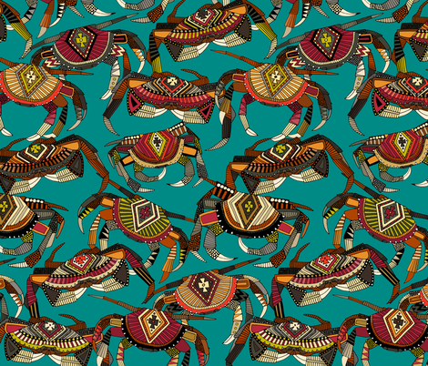 crabs teal fabric by scrummy on Spoonflower - custom fabric