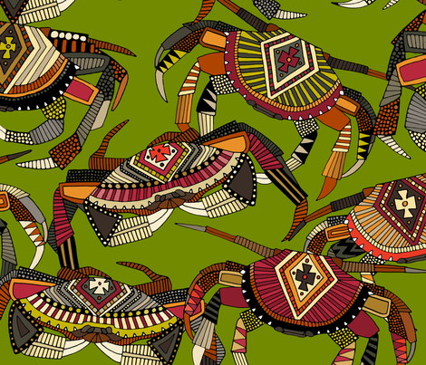 crabs lime large fabric by scrummy on Spoonflower - custom fabric