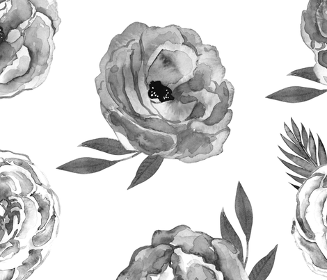 Mix of Flower in Black and White fabric by hudsondesigncompany on Spoonflower - custom fabric