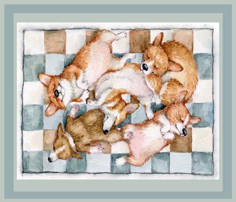 Cute Corgi  Litter Sleeping Inga Izmaylova 18 by 21 fabric by masha_by_masha on Spoonflower - custom fabric