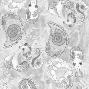 Paisley Sea Monochrome Gray