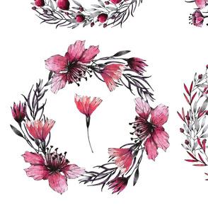 pink green wreaths