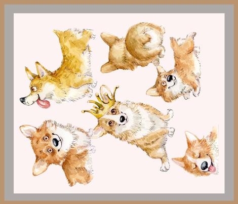 Cute Corgi  Puppies   Inga Izmaylova Dogs fabric by masha_by_masha on Spoonflower - custom fabric
