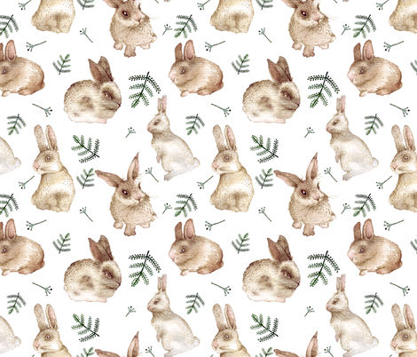 Bunnies and leaves (white bg) fabric by bird_tale on Spoonflower - custom fabric