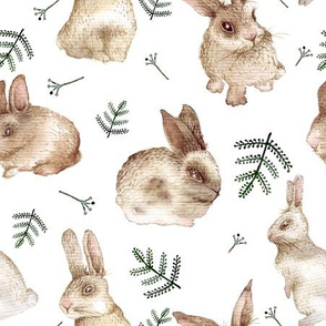 Bunnies and leaves (white bg)
