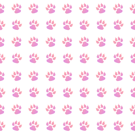 Cat paw pink white fabric by karwilbedesigns on Spoonflower - custom fabric