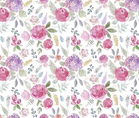 Portia Watercolour Floral on white MEDIUM fabric by sylviaoh on Spoonflower - custom fabric