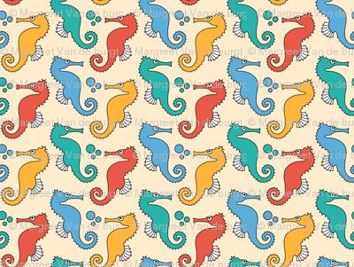 Seahorses on Yellow