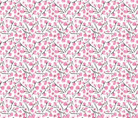 Smaller Pink Spring Cherry Blossom with Birds fabric by elena_o'neill_illustration_ on Spoonflower - custom fabric