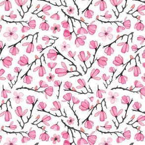 Smaller Pink Spring Cherry Blossom with Birds