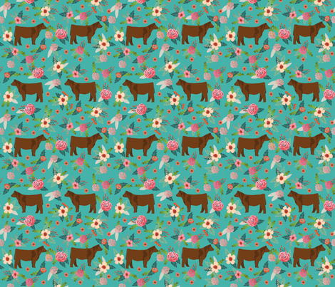 angus cattle red farm cow fabric green fabric by petfriendly on Spoonflower - custom fabric