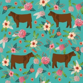angus cattle red farm cow fabric green