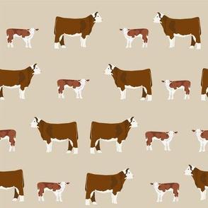 hereford cattle tan farm animal fabric