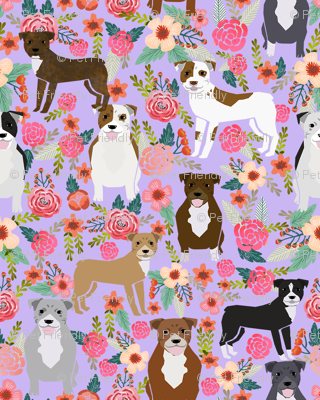pitbull flowers multi purple dog breed fabric pitbulls