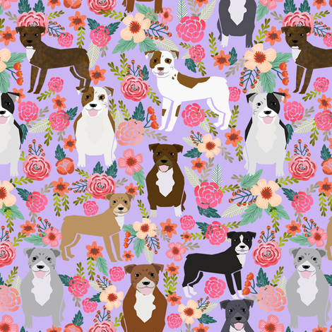 pitbull flowers multi purple dog breed fabric pitbulls fabric by petfriendly on Spoonflower - custom fabric