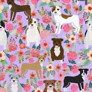 pitbull flowers multi purple dog breed fabric pitbulls