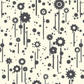 Gear flowers, grey on cream