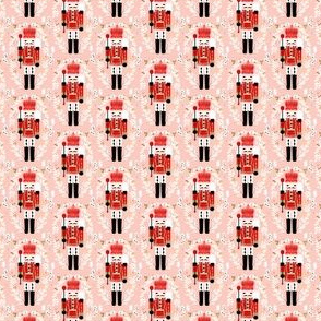 nutcracker fabric (small scale) // pink and red nutcrackers holiday xmas christmas fabric christmas andrea lauren christmas fabric