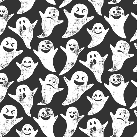 ghost on grey - halloween fabric by littlearrowdesign on Spoonflower - custom fabric