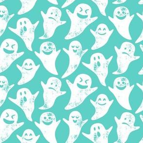 ghost on teal - halloween