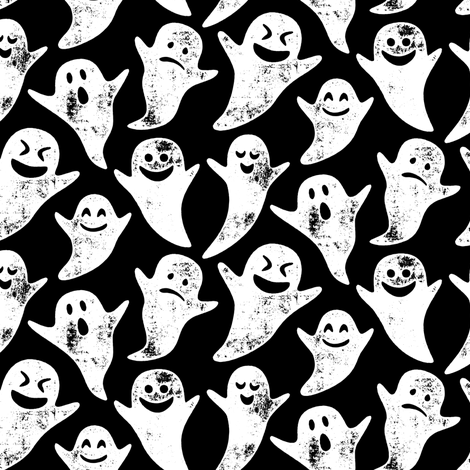 ghost on black - halloween fabric by littlearrowdesign on Spoonflower - custom fabric