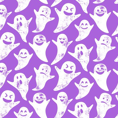 ghost on purple - halloween fabric by littlearrowdesign on Spoonflower - custom fabric