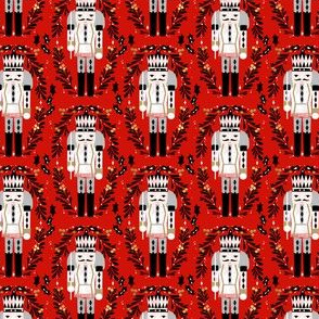 nutcracker christmas (small scale) //red and black fabrics folk design xmas holiday fabrics