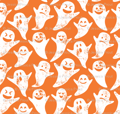 (micro scale) ghost on orange - halloween