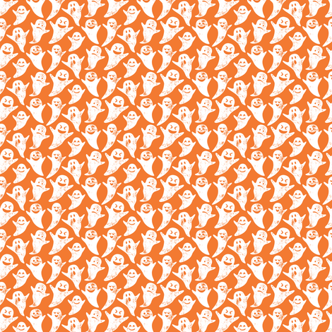 (micro scale) ghost on orange - halloween fabric by littlearrowdesign on Spoonflower - custom fabric