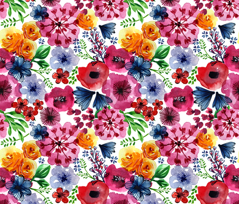 Bright Blooms fabric by ruthburrows on Spoonflower - custom fabric