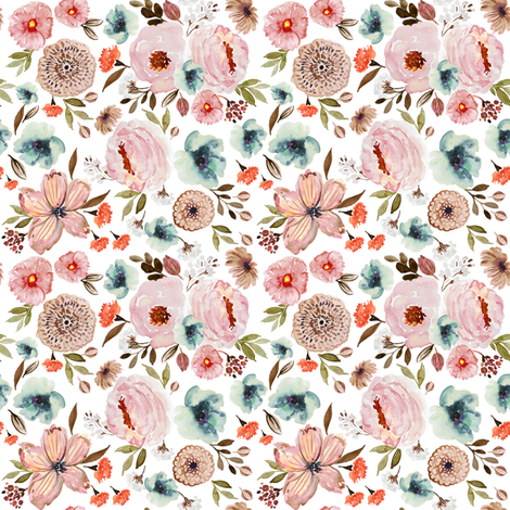 Indy Bloom Fall-ing for you white B fabric by indybloomdesign on Spoonflower - custom fabric